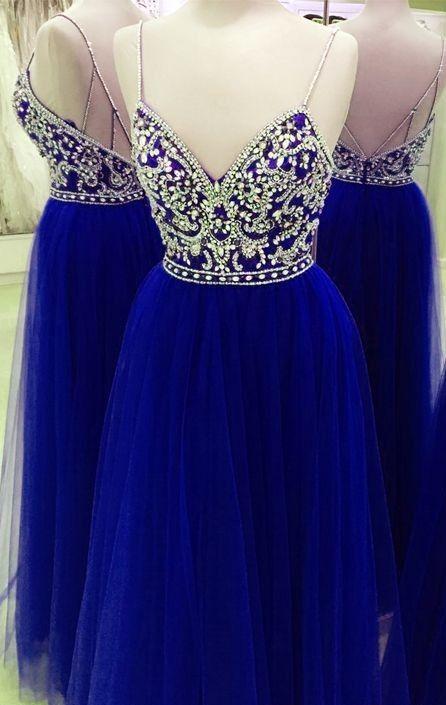 2020 Green Royal Blue Prom Dress With Spaghetti Straps Bling Rhinestone Criss Cross Straps Back Designer Real Photo Evening Formal Dress