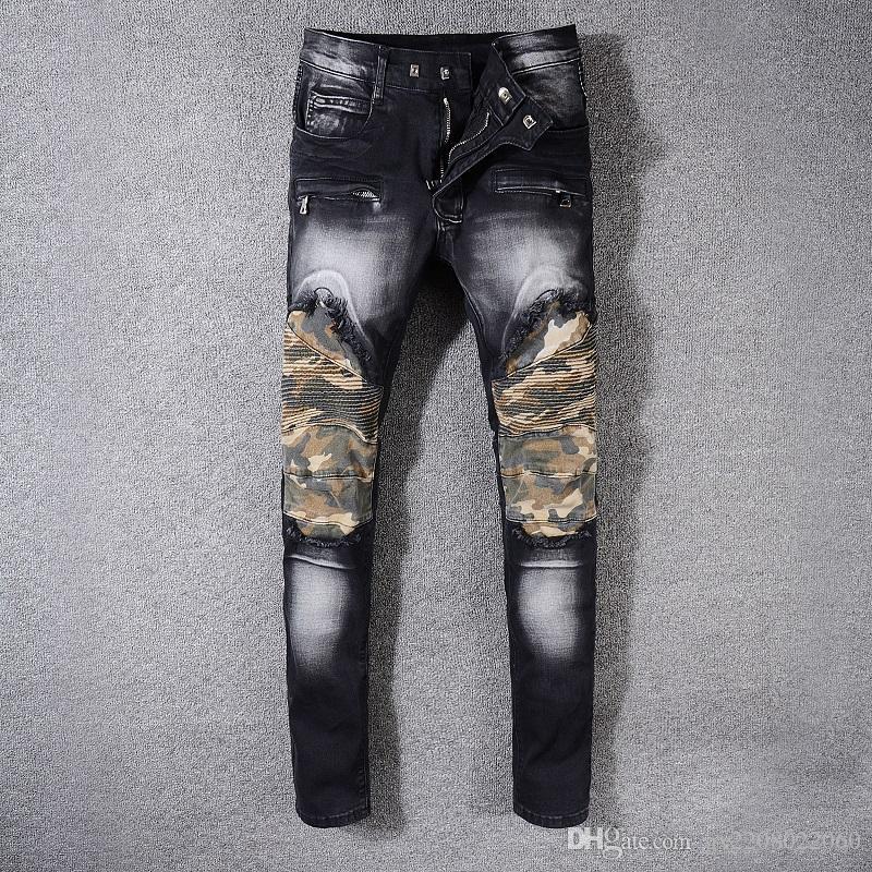 Großhandel Herbst Und Winter Neue Flut Marke Schwarze Jeans Männliche Persönlichkeit  Unregelmäßigen Patch Hosen Stretch Slim Füße Motorrad Hosen Von ... fefdb5e6cf