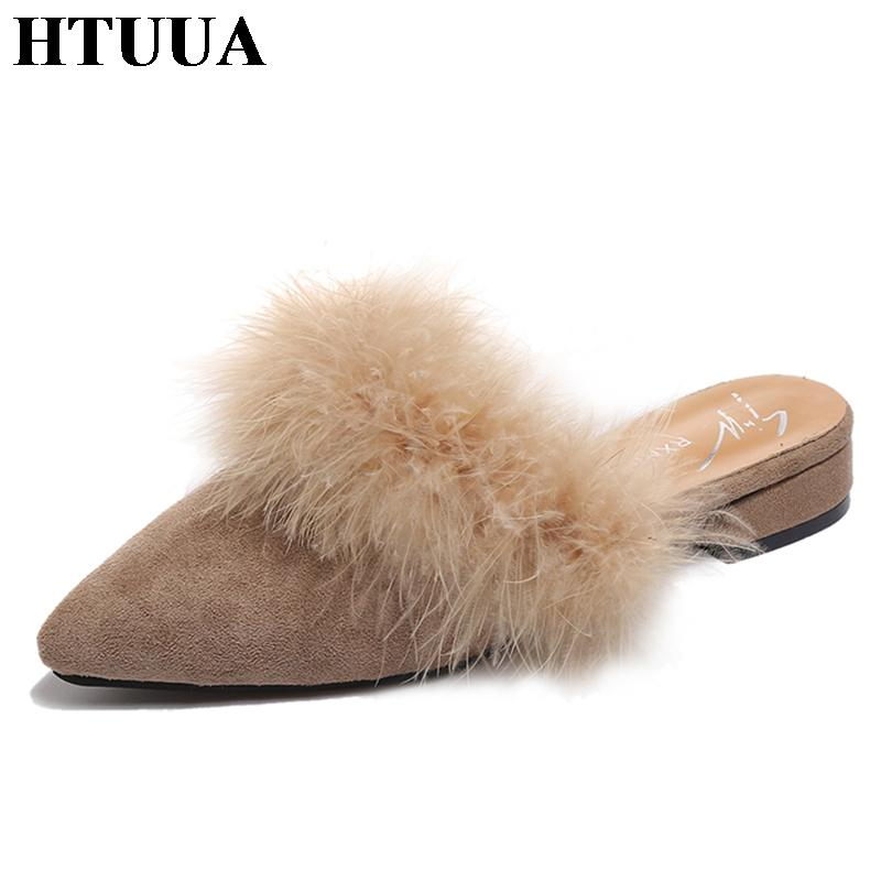 f0f5efeadbae HTUUA Fashion Fluffy Faux Fur Slippers Women Sexy Pointed Toe Mules Shoes  Solid Flat Sandals Summer Shoes Woman Slides SX1360 Gold Shoes Girls Boots  From ...