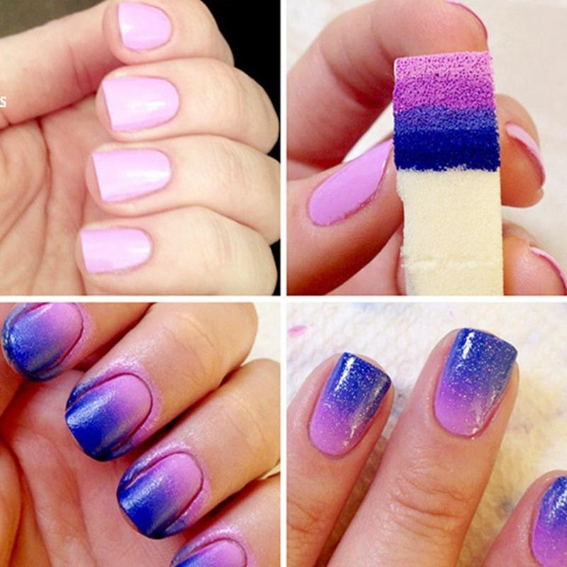 / bricolage dégradé ongles éponges ongles tampon fichiers changement de couleur gel équipement de vernis à ongles manucure ongles-art outils ensembles kits