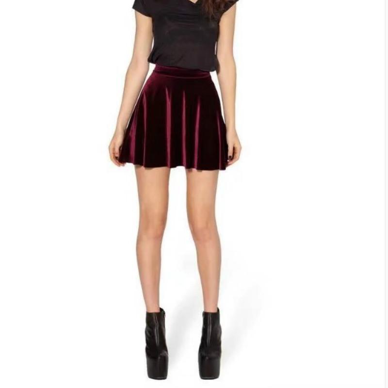7fc614035e8 S-L Size Slim Skirt Natural Color Stitching Personality Wild Trend Fashion  Velvet Pleated Skirt Slim Mini Umbrella