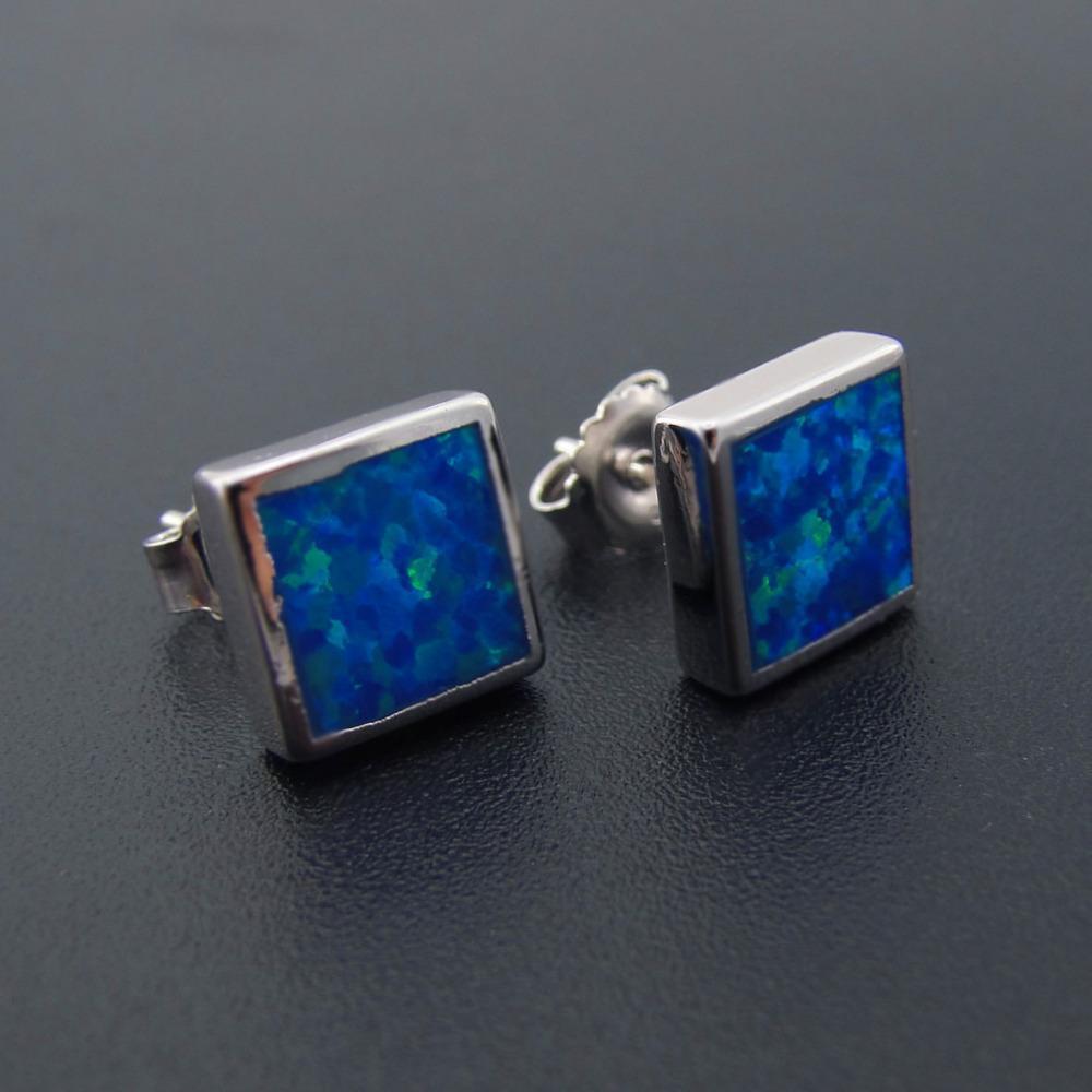 e5dc7f47c 2019 925 Silver Opal Earrings Square Shape Stud Earrings For Women Jewelry  With Blue Fire Opal Earring For Women Ngift Jewelry From Xiajishi, ...