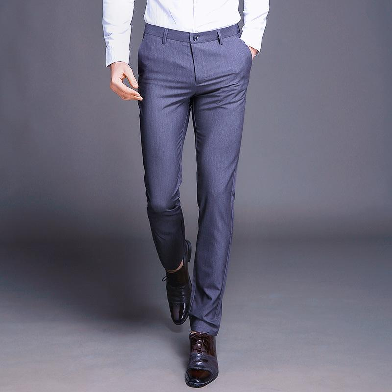 13124ca9624fae Compre Pantalones De Vestir De Los Hombres Pantalones Formales Slim Fit  Traje De Negocios Informal De Boda Hombres Negro Naranja Pantalones Para  Hombre ...