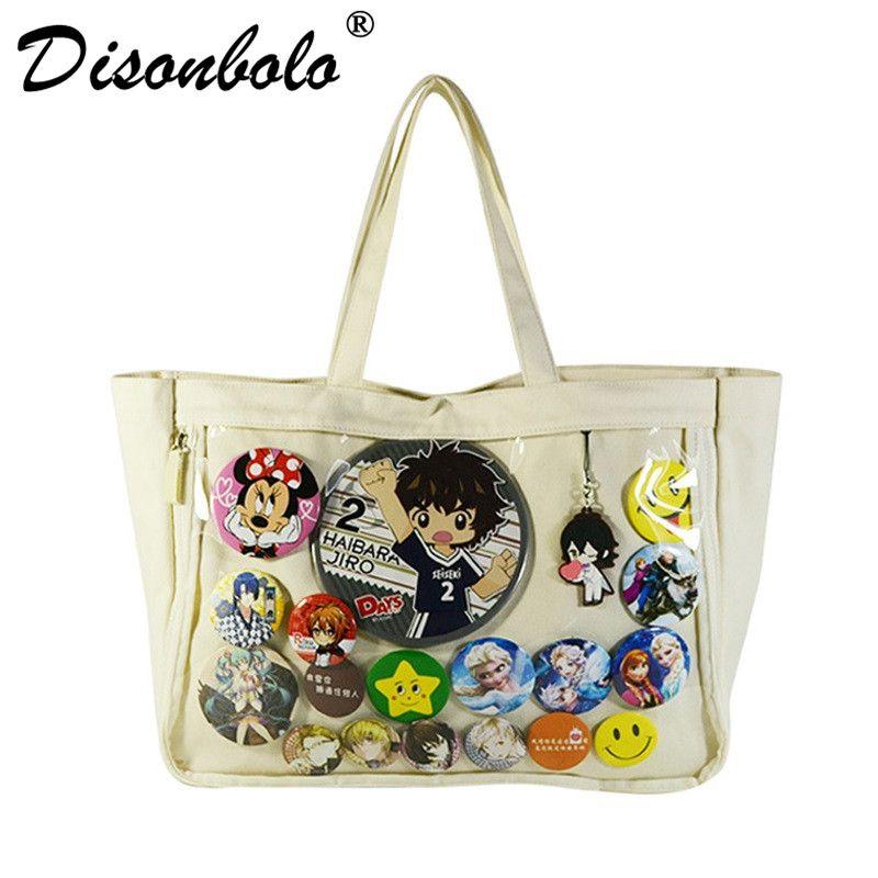 Japan Ita Bag Itabag Clear Transparent Canvas Shoulder Bag Handbag Lolita  Cosplayers Can Badge Keychain Plush Harajuku Style