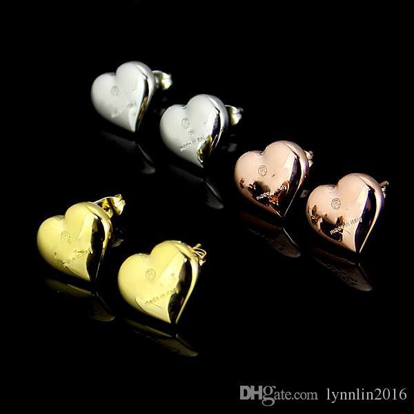 높은 품질 유명 브랜드 쥬얼리 패션 스테인레스 스틸 럭셔리 골드 실버 로즈 골드 도금 된 심장 G 스터드 귀걸이 도매업 남성 여성용