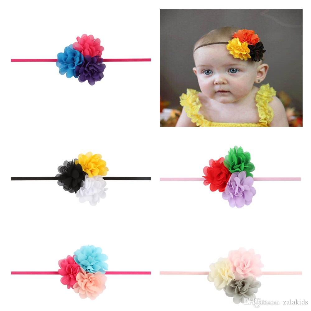 2018 New Gril baby Headbands Chiffon flower combination set Elastic hair Headwear head band Hair Accessories
