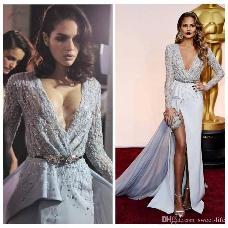 Stilvolle 2019 Zuhair Murad Mermaid Prom Kleider Langarm V-Ausschnitt Perlen Pailletten High Split Abnehmbare Zug Festzug Abendkleider
