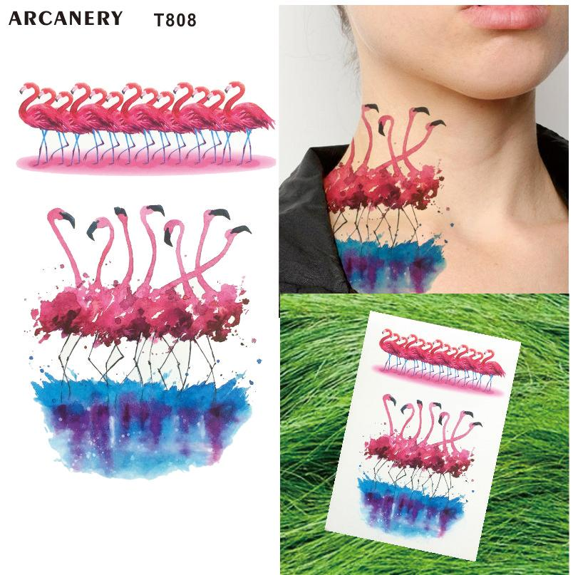 T808 Pink Flamingos Waterproof Temporary Tattoo Body Art Temporary