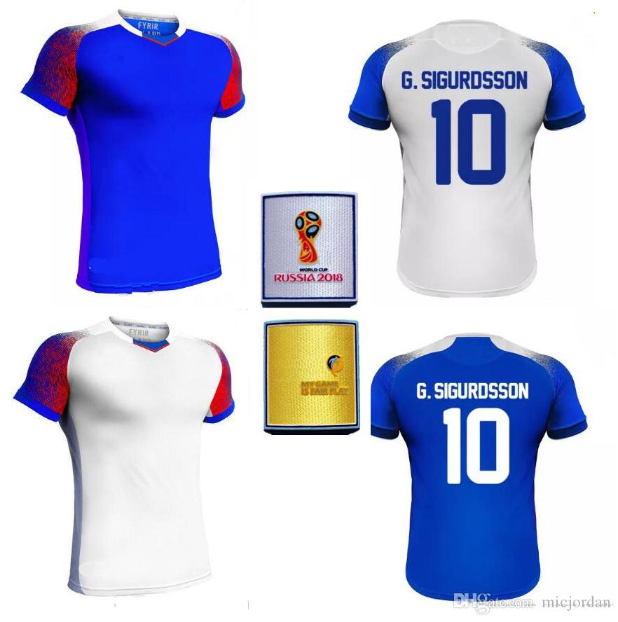 a1bd0850f 2018 World Cup Iceland Jerseys Red Bule SIGURDSSON SIGTHORSSON Top ...