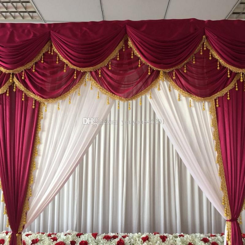 3mH * 3mW의 얼음 실크 흰색 커튼 멋진 와인 붉은 개와 결혼을위한 금 tassels 배경과 커튼