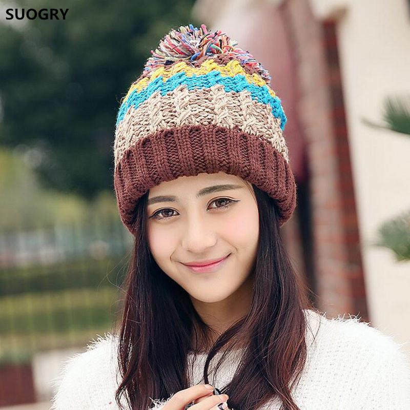3b66ff3d Women Winter Beanie Warm Colorful Cable Knit Fleece Lined Pom Hat Hats  Bucket Hats From Zhijin, $24.89| DHgate.Com