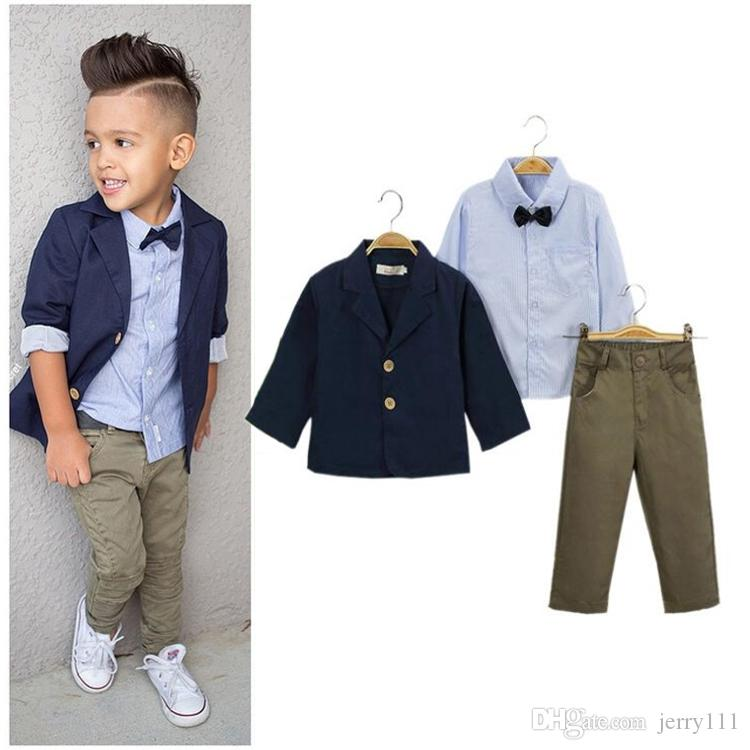 bc42f827d 2019 Kids Clothing Boys Suits Coat + Tie Shirt + Trousers  Set Baby ...