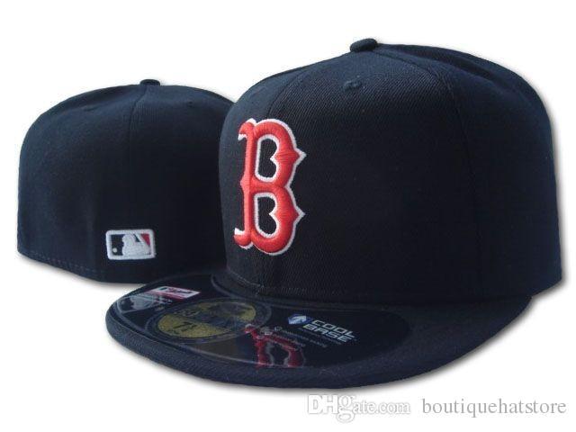 Compre Men s Red Sox Color Negro Sombrero Equipado Plano Brim Embroiered B  Letter Logotipo De Equipo Ventiladores Gorra De Béisbol De Calidad Superior  Sox ... d2306d294ef