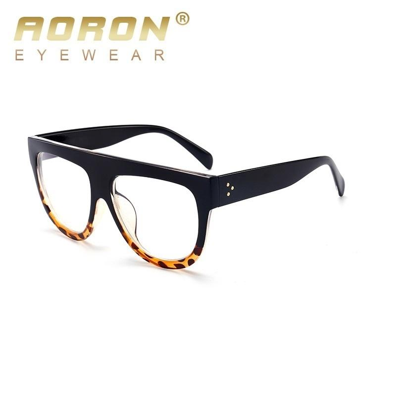 Compre Aoron Big Mate Negro Gafas Óptica Mujer Plana Superior De ...