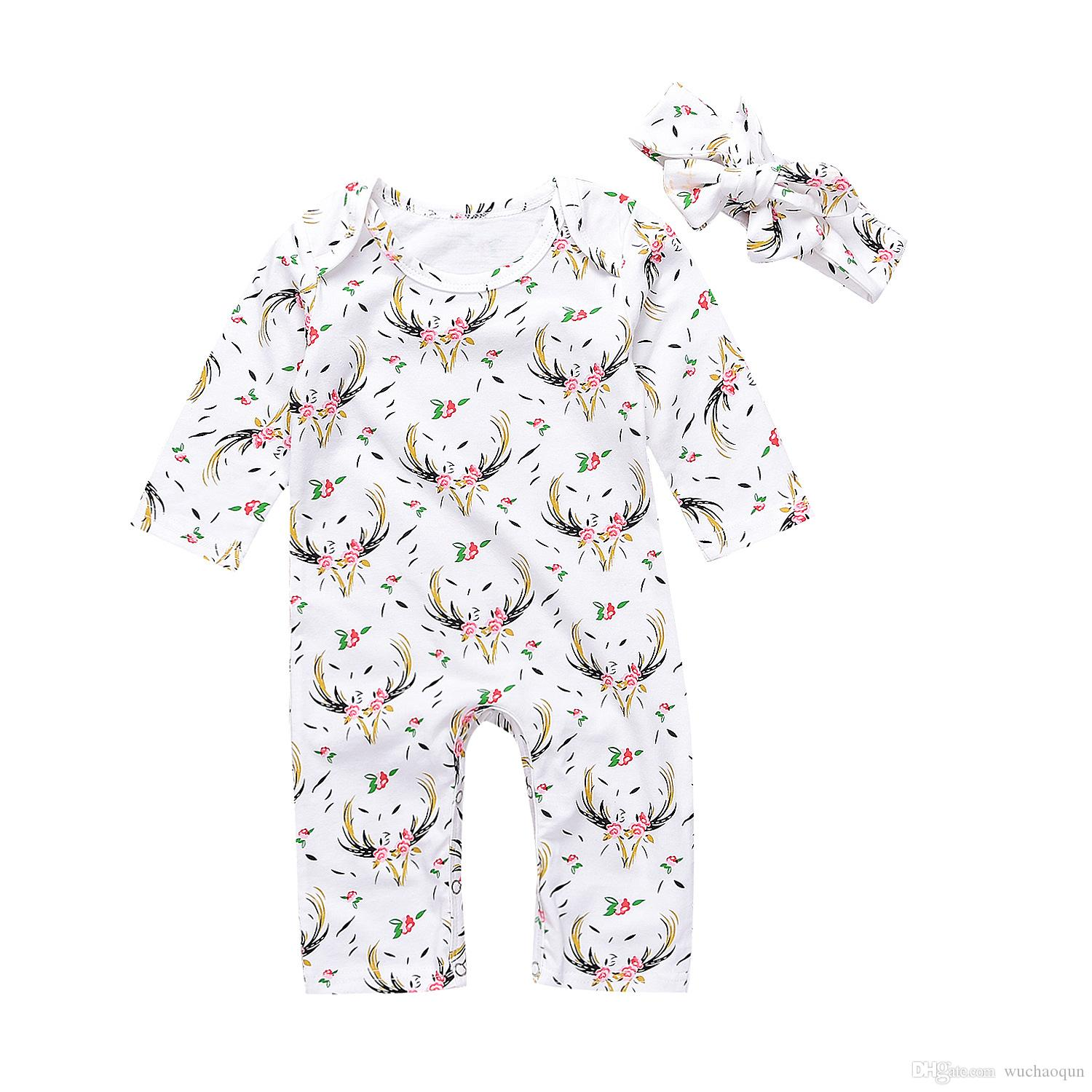 Autumn Winter Baby Clothes Cute Newborn Kids Girl Casual Long Sleeve Christmas Deer Floral Romper Jumpsuit Headband 2Pcs kids clothing