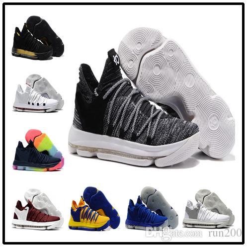 official photos 9e6a5 8441b Acheter Ventes KD 10 Oreo Noir Blanc Hommes Femmes Enfants Chaussures  Magasin Kevin Durant Basketball Chaussures Livraison Gratuite Prix De Gros  897815 001 ...