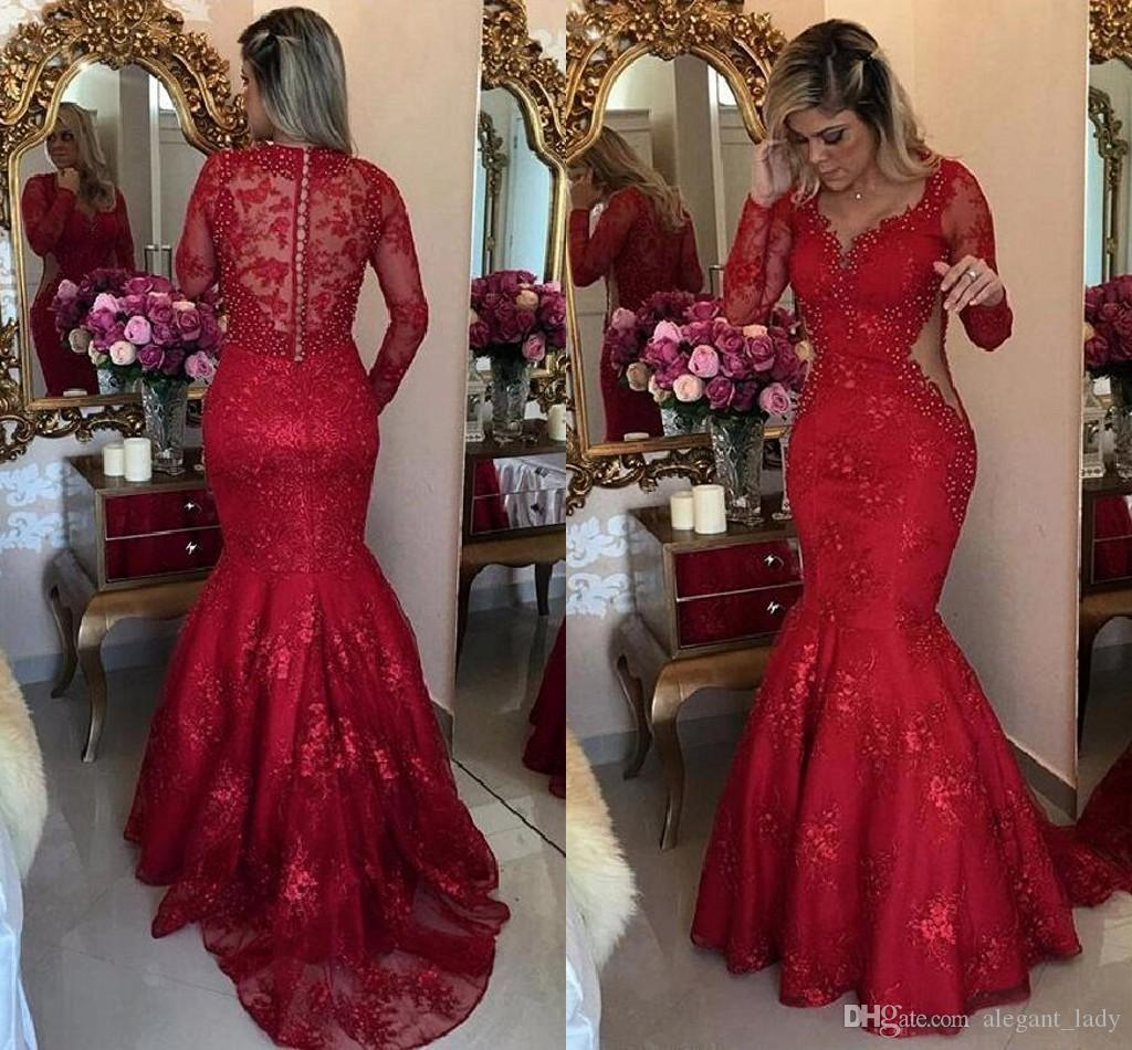 Luxury Pearls Crystal Mermaid Evening Occasion Dresses with Long Sleeve 2018 Sexy Cutside V-neck Red Lace Sheer Back Prom Dress
