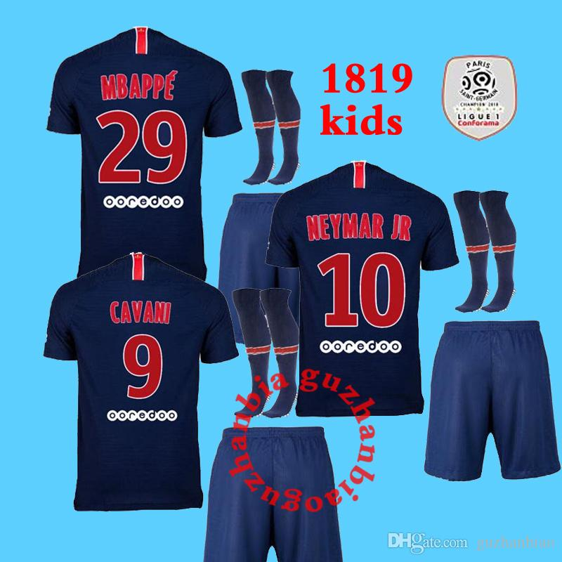 c890f76fb39fa 2018 2019 Kids Kit Paris Neymar Jr Mbappe Soccer Jerseys 18 19 Home ...