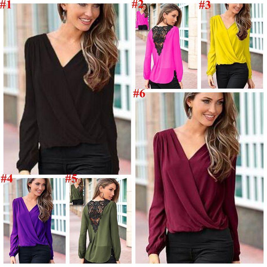 T-Shirt Women Lace Chiffon Shirts Fashion Solid Tops Long Sleeve Blouse Loose Casual Tees European America Sexy Blusas Women Clothing 3718
