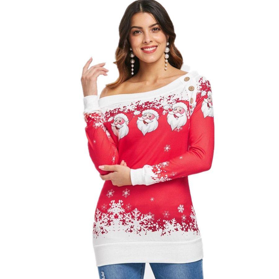 05697e43dccec 2019 Christmas Women Winter Off Shoulder Long Sleeve Cartoon Santa Claus  Print Jumper Sweater Top Slim Bodycon Mini Dress 5568  From Jiehan shop