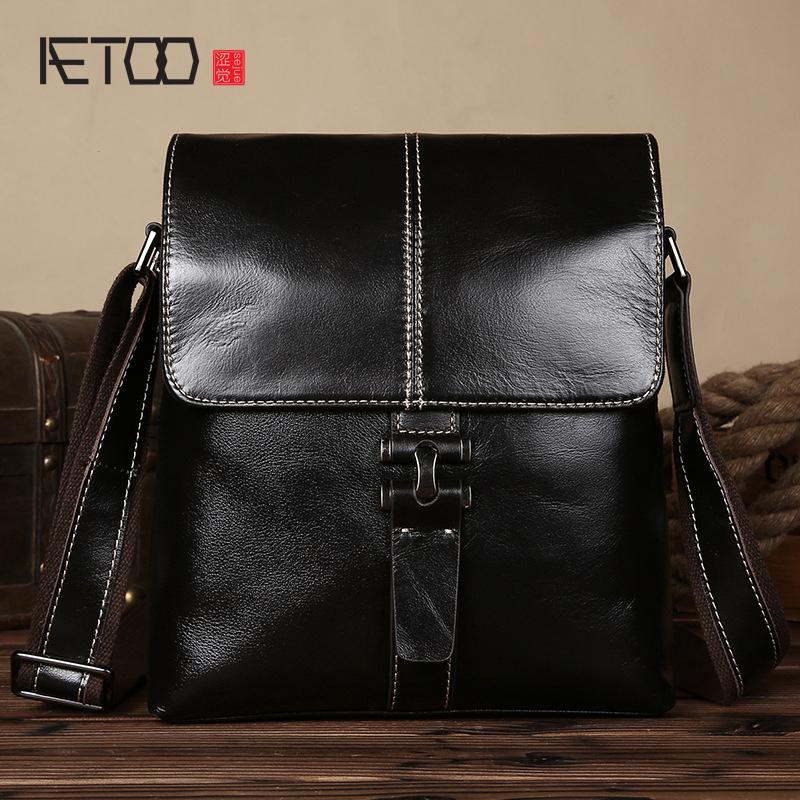 f72cf6418227 AETOO New Leather Messenger Shoulder Bag Head Layer Cowhide Business ...