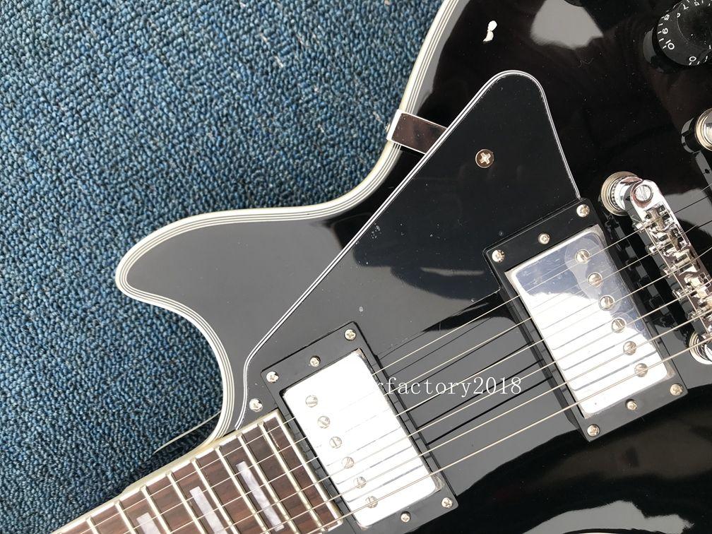 Hot Sale Factory Wholesale Black Beauty 2 Pickups Ebony Fingerboard Custom Electric Guitar White Hardware