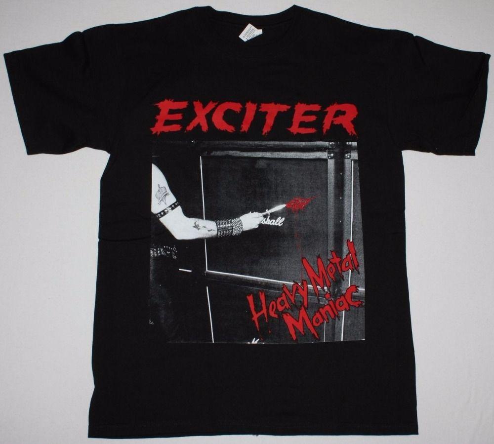 Online Custom T Shirts Exciter Heavy Metal Maniac Anvil Anthrax Speed Thrash New Black T Shirt Short O Neck Office Tee For Men