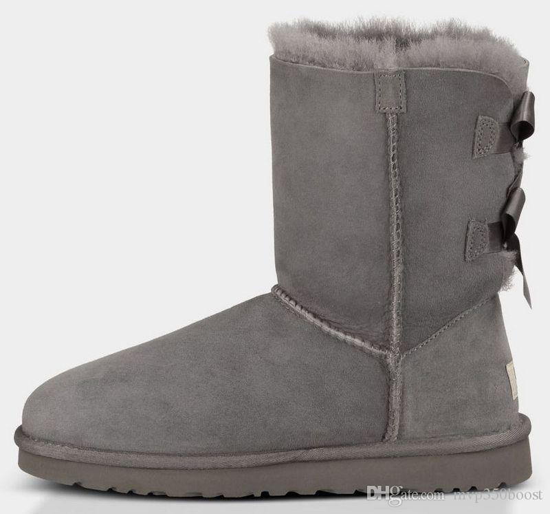Grátis shipping2017 new australiano botas de neve de couro grosso arco no tubo botas de neve de algodão sapatos