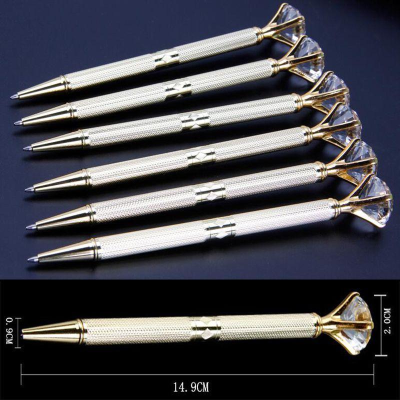 Die Neueste Version Des Da Carat Diamant Kristall Stift Edelstein Kugelschreiber Hochzeit Bürobedarf Metall Ring Kugelschreiber Freies Verschiffen