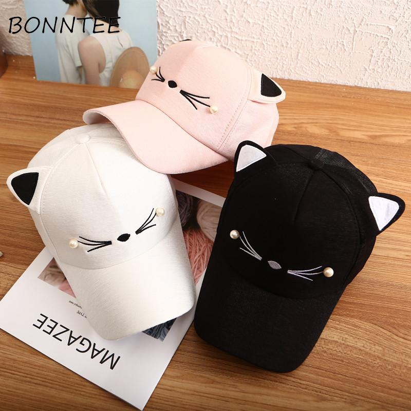 98f90929f913d Baseball Caps Women Cute Cat Ear Sun Shade Trendy Adjustable Casual Korean  Style Summer Womens Lovely Cap Daily All Match Chic Cap Store Custom Fitted  Hats ...