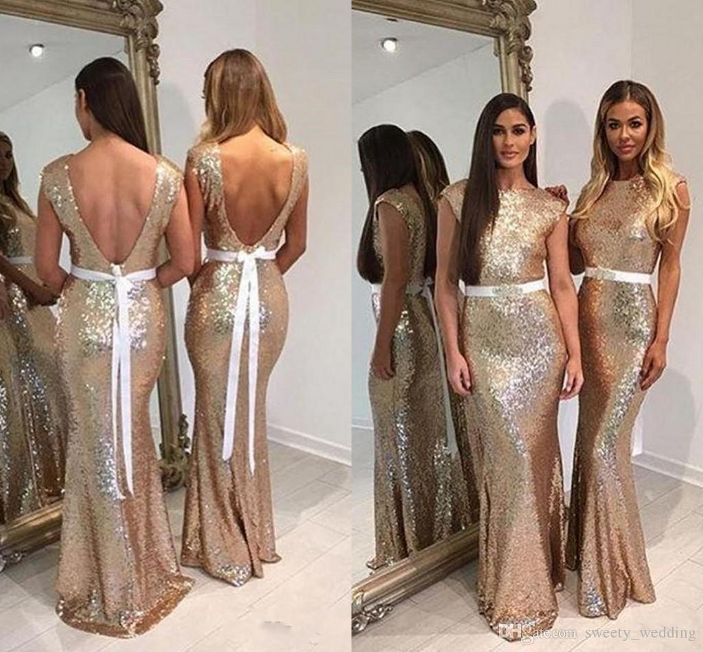 2018 Bling Gold Sequined Long Bridesmaid Dresses For Wedding With Bow Cap Sleeve Country Wedding Beach Wedding Party Dresses Vestidos Cheap