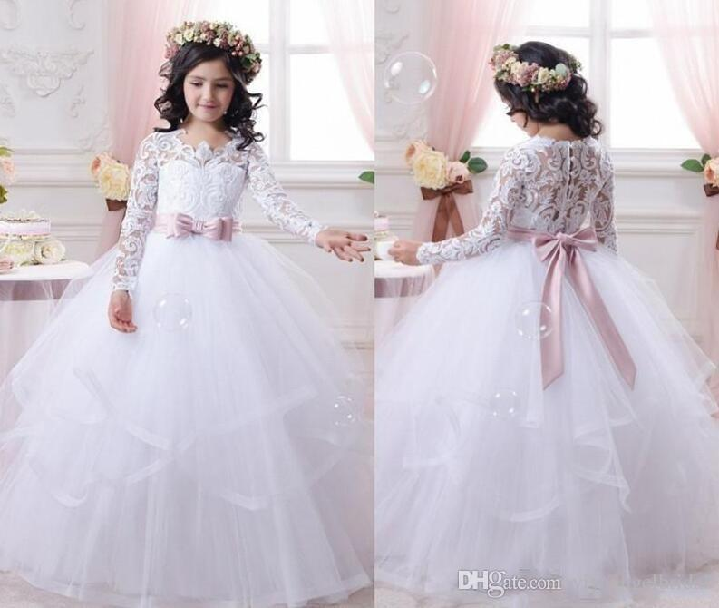 ea74a160a 2018 Cheap White Flower Girl Dresses Sash Bow Applique Tiered Lace Long  Sleeves Little Girls Pageant First Communion Gowns Prom Ball Gown One  Shoulder ...