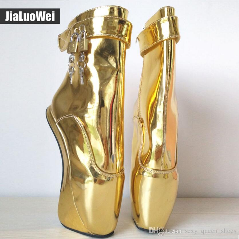 """Women 7""""/18CM Extreme High Heels Pony Heelless Wedge Ballet Ankle Boots crystal Sexy Man Fetish Padlocks Exotic Party Short Boot Shoes"""
