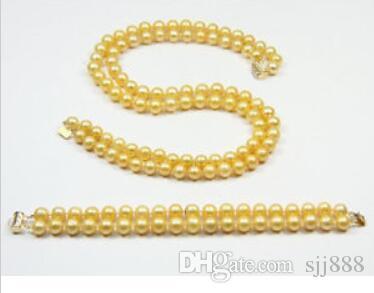 9-10mm Natürliche goldene südsee perlenkette Armband 14 karat gelb schließe @