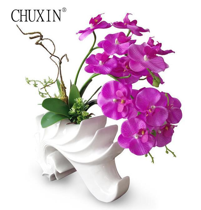 2018 Europe Simple Style Artificial Orchid Flower With Leaf Vase Set