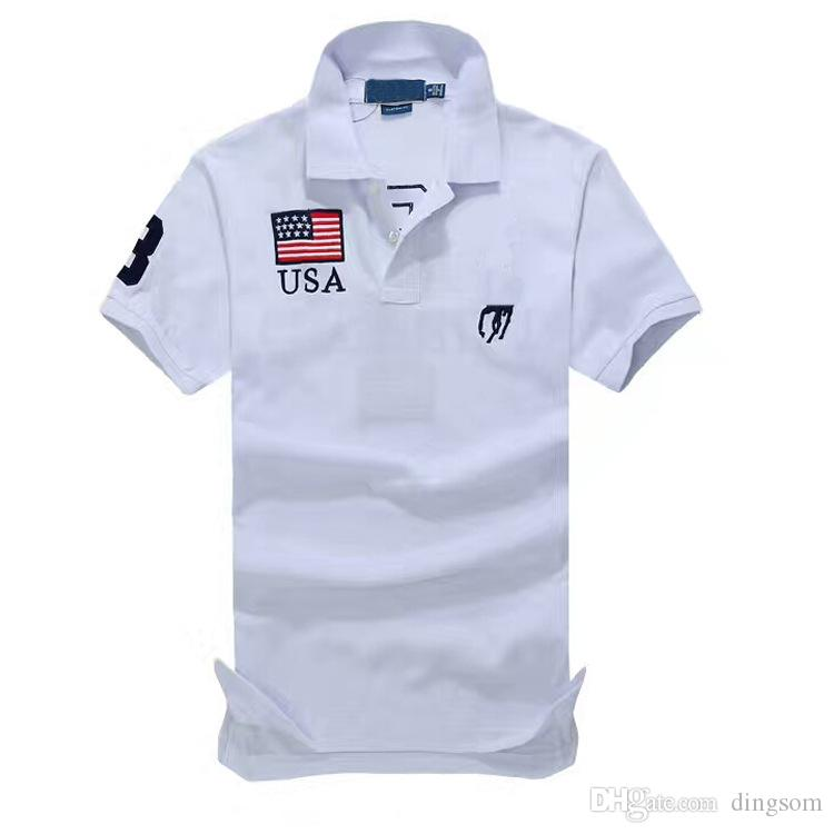 Small Horse Solid Polo Shirt New Short Sleeve Summer Cotton Men Womens National Flag Shirt Size Navy Blue