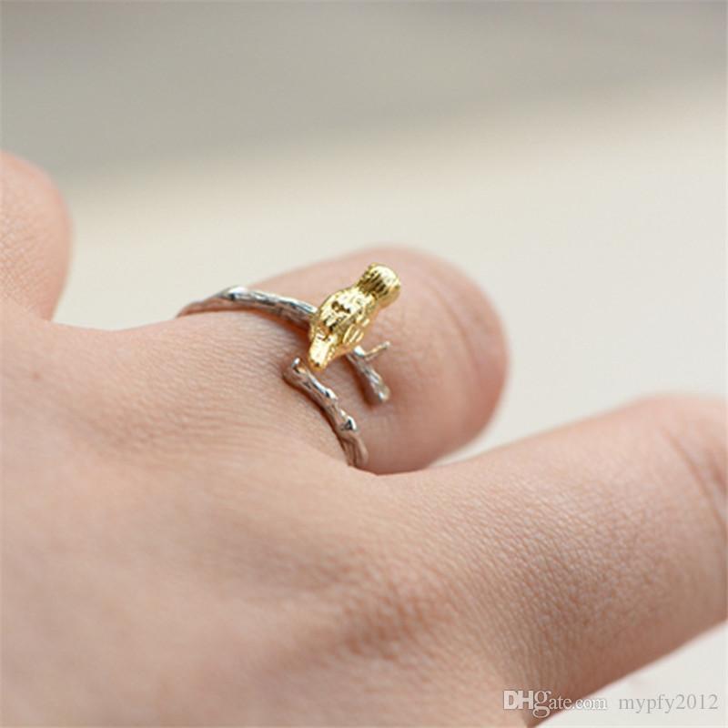 Старинные тайский серебряный лист птица регулируемая группа кольцо стерлингового Сивер кольца 925 для девушки женщины подарок ювелирные изделия py