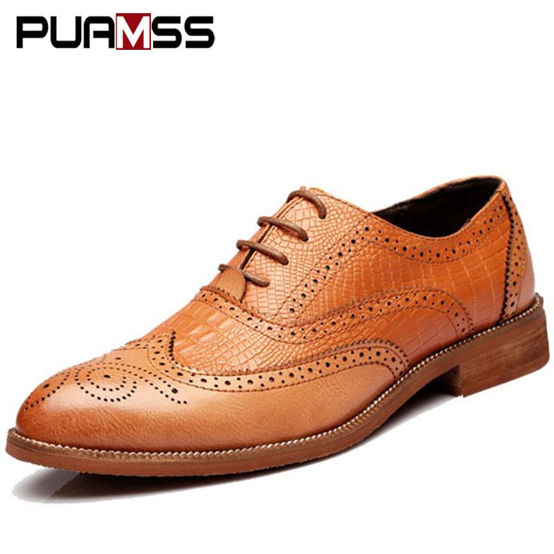 2018 New Men Shoes Handmade British Style Brogue Paty Wedding Shoes ... 424b6ca5b8ca