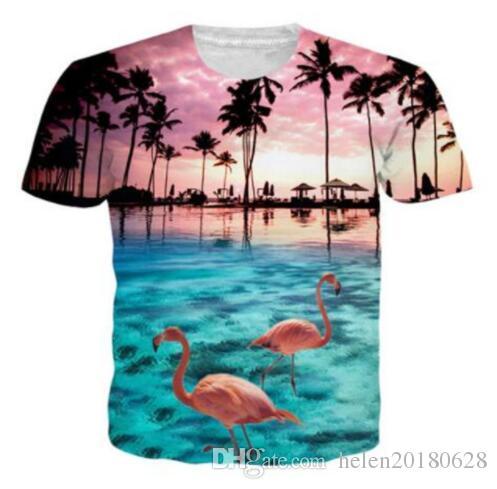 Compre Sondirane Flamingos Aloha Havaiano 3D Impressão De Verão T Shirt Dos  Homens   Mulheres GraphicTees Camiseta Hombre Tops Estilo Confortável  Dropship ... dfff14feee36e