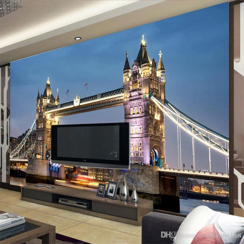 Custom Any Size Mural Wallpaper 3D European Style Tower Bridge Bedroom Living Room TV Background Photo Wallpaper Papel De Parede