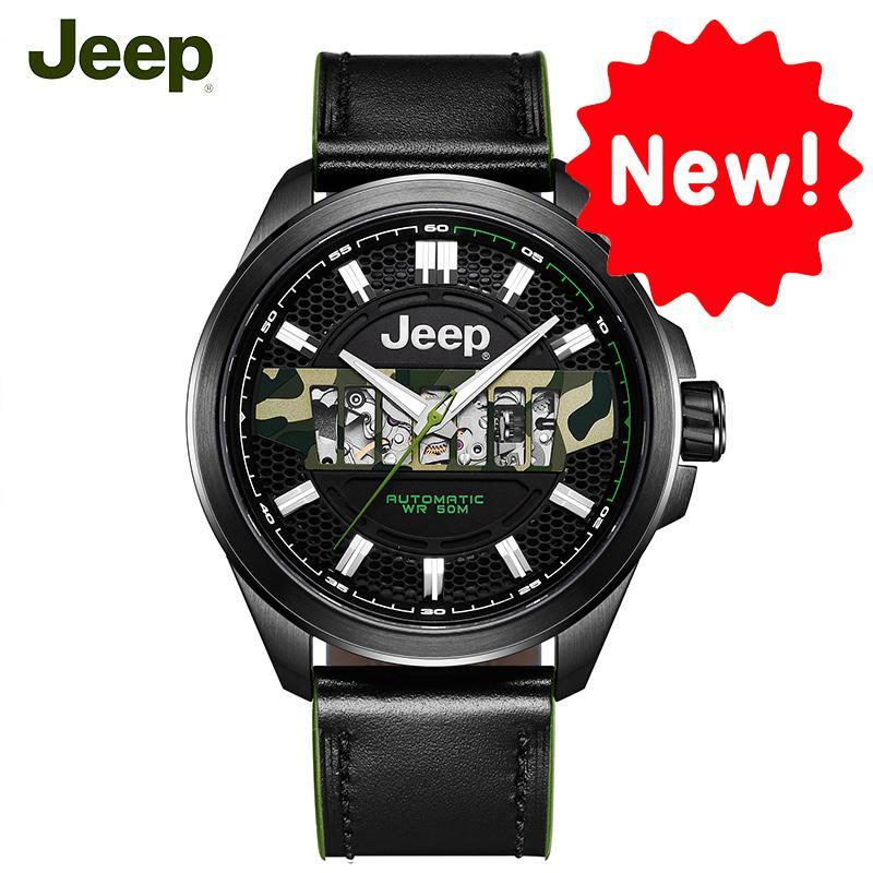 80270eb98bf Compre Jeep Original Mens Relógios Mecânicos Grand Cherokee Seri 50 M À  Prova D  Água De Aço Oco Marca De Luxo Masculino Relógio JPG900101MA De  Prevalent