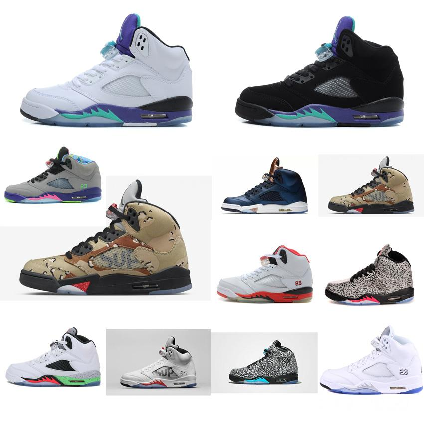 bfea1d94281aa 2019 Cheap Mens Retro 5s Basketball Shoes For Sale White Black Purple Grape  Bel Sup Camo Red Aj5 Jumpman Air Flights Sneakers Tennis J5 With Box From  ...