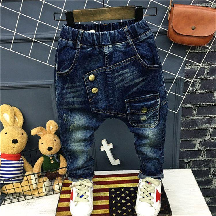 2017 spring Children Clothing Boy Trousers Letter Pattern Dark Blue Child Jeans Baby Boys Harem Pants Kids Casual Denim Pants