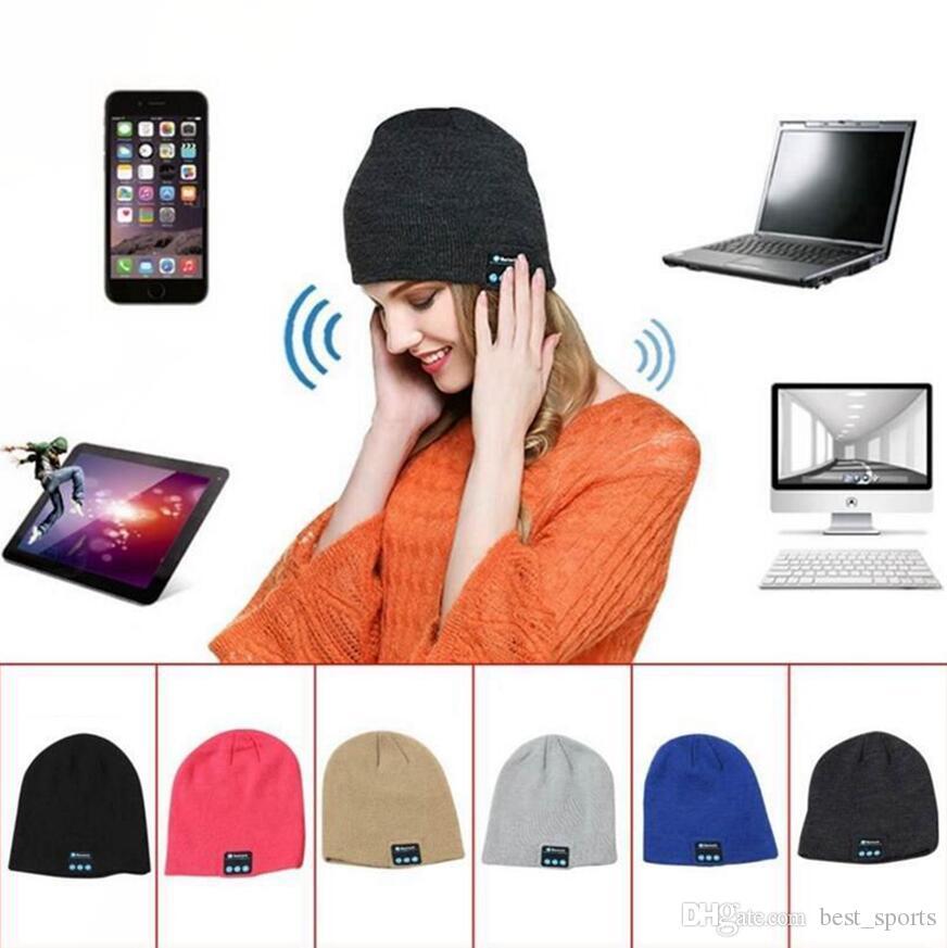 eb4b82eb8 Wireless Bluetooth Headphones Music Hat Smart Caps Headset Earphone Warm  Beanies Winter Hat Outdoor Sports Hats 6 Colors OOA4047