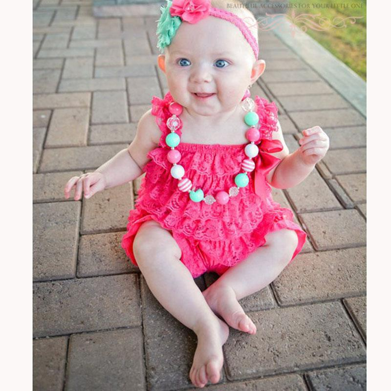 d63568e68b50 2019 Baby Girls Clothes Infant Toddler Hot Pink Lace Romper Newborn Ruffled Petti  Romper Toddler Kids Jumpsuit Baby Photo Prop Outfit From Heathera