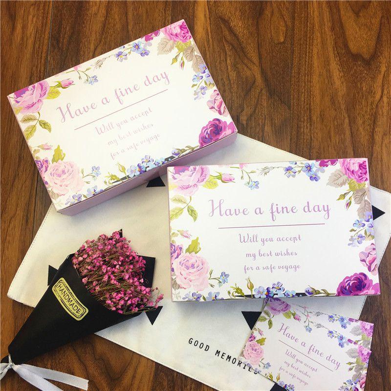 Fiore Avere una bella giornata Scatola regalo di nozze Scatole di cartone di cartone alimenti di grandi dimensioni, 6 scatola di imballaggio torta al cioccolato Cookie Cup LZ1137