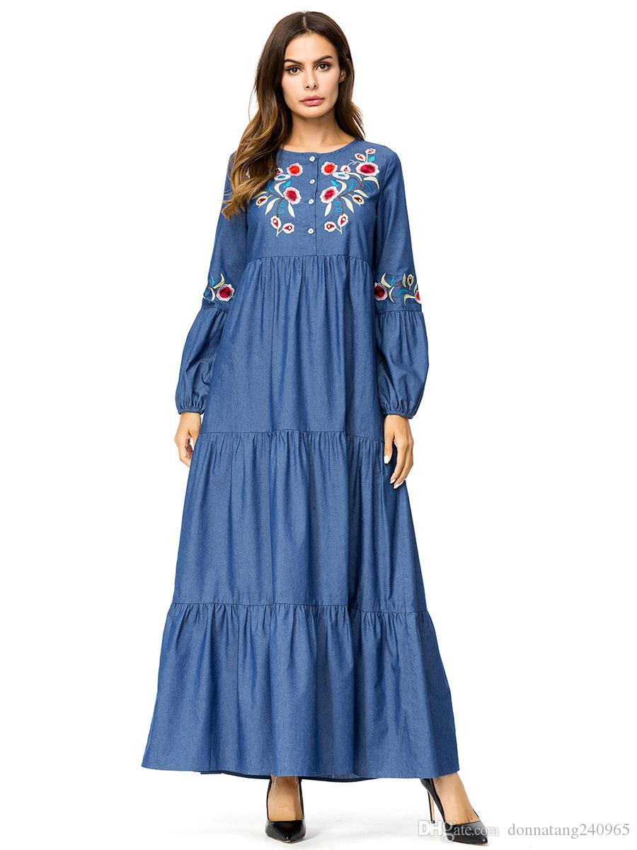 Acquista Islam Casual Abaya Musulmano Ragazza Moda Jeans Vestito Ricamo  Donne Turche Abbigliamento Burqa Veste Plus Size Dubai Arabo Djellaba A   21.85 Dal ... 96fc2bf315b
