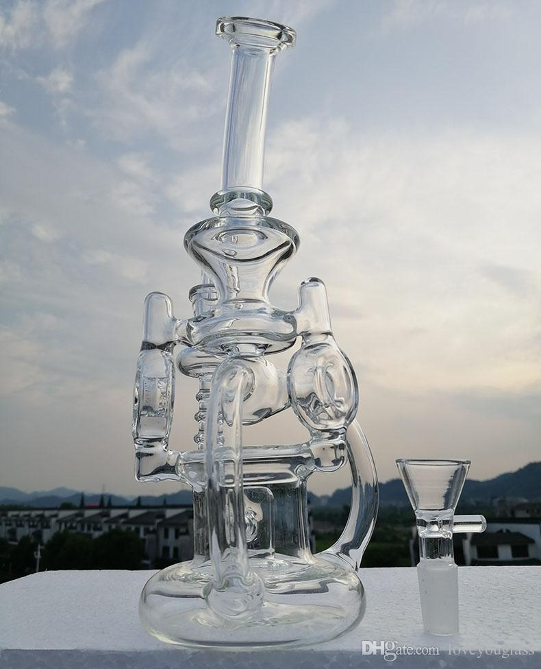 Gass bong with 4mm quartz banger double recycler bongs vortex water pipe glass pipe cyclone oil rigs heady dab rig 14.4mm joint