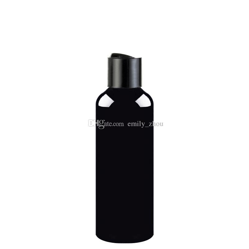 50 adet 100 ml 150 ml 200 ml 250 ml siyah boş losyon krem kozmetik şişe disk ile üst, 250cc plastik şişeler konteynerler şampuan PET şişeler