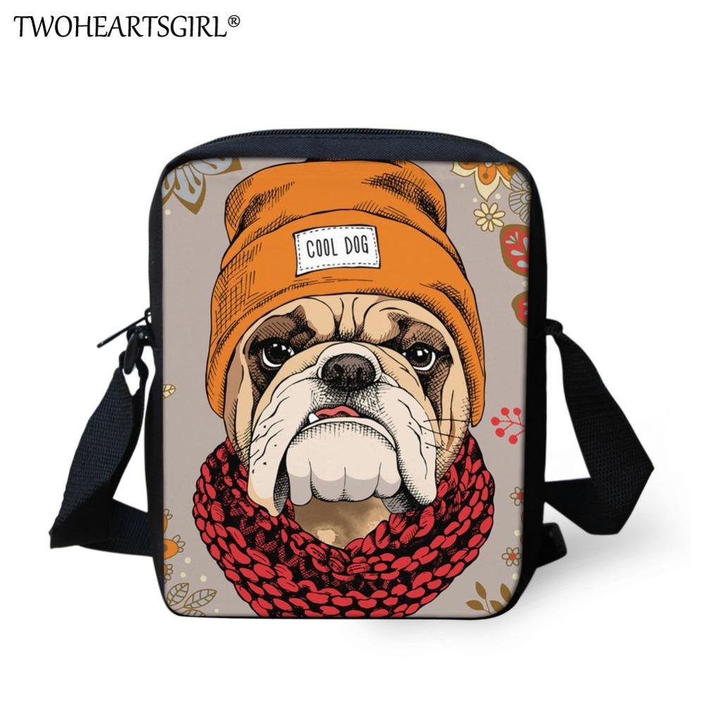 Twoheartsgirl Cool Puppy Pug Dog Messenger Bag For Girls Cute School